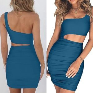 BLUE Sleeveless one shoulder Cutout Ruched DRESS